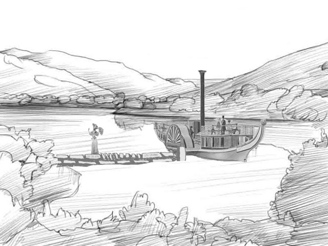 Imagined scene with a paddle boat moored at the jetty and a stately woman in period dress walking ashore. Click where the cache is in the image or just look at the html source to progress to the next step.